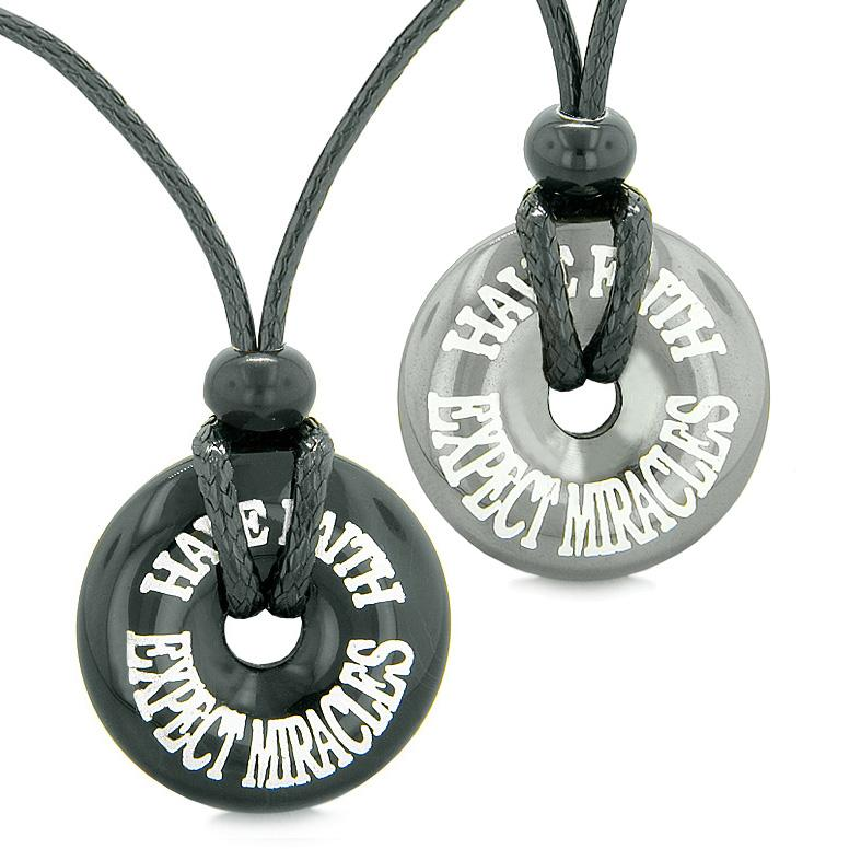 Amulets Have Faith Expect Miracles Love Couples or Best Friends Donuts Hematite Agate Necklaces
