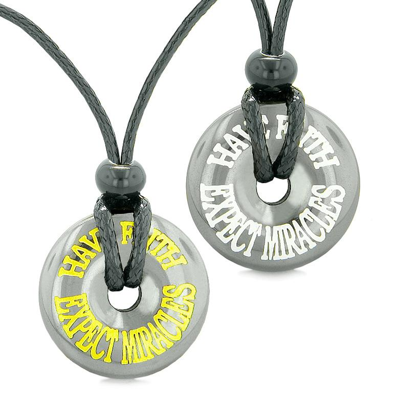Amulets Have Faith Expect Miracles Love Couples or Best Friends Donuts Hematite Pendant Necklaces