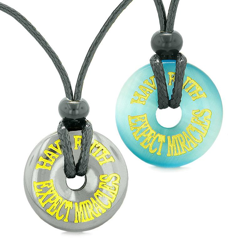 Amulets Have Faith Expect Miracles Love Couples Donuts Hematite Blue Simulated Cats Eye Necklaces