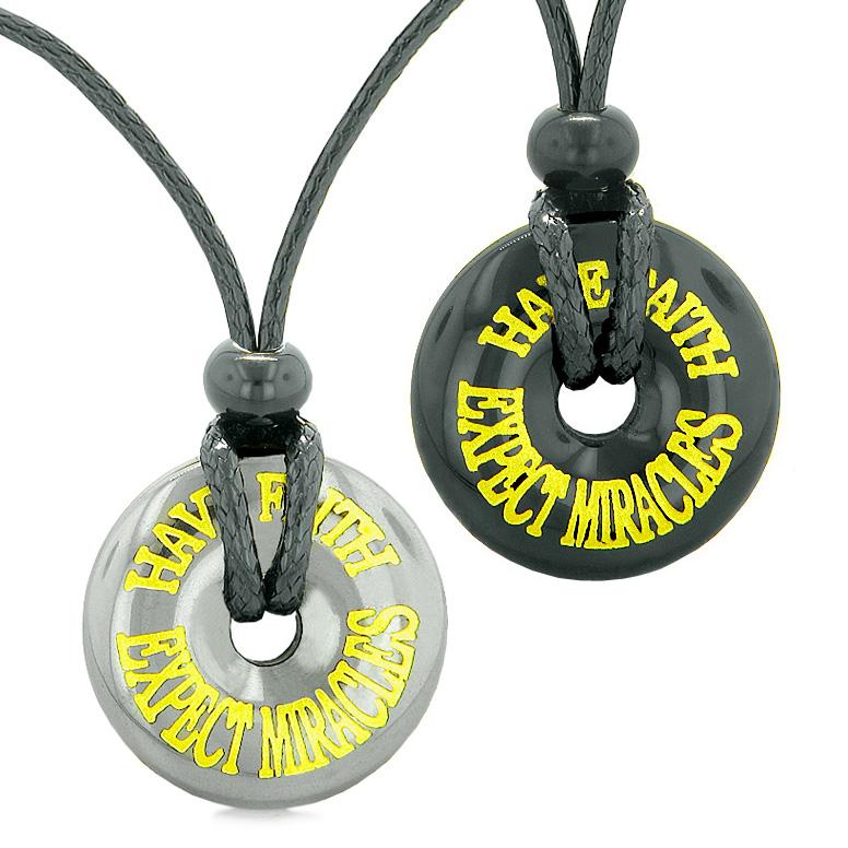 Amulets Have Faith Expect Miracles Love Couples Best Friends Lucky Donuts Hematite Agate Necklaces