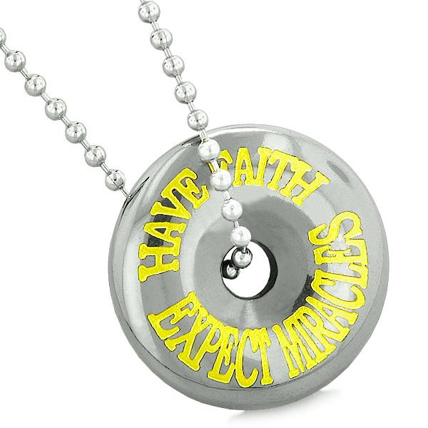 Inspirational Have Faith Expect Miracles Amulet Coin Lucky Charm Donut Hematite Pendant Necklace