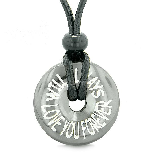 Inspirational Will Always Love You Forever Amulet Lucky Charm Coin Donut Hematite Pendant Necklace