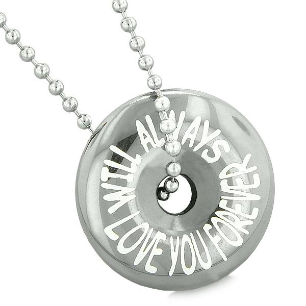 Inspirational Will Always Love You Forever Amulet Lucky Coin Donut Hematite Pendant Necklace