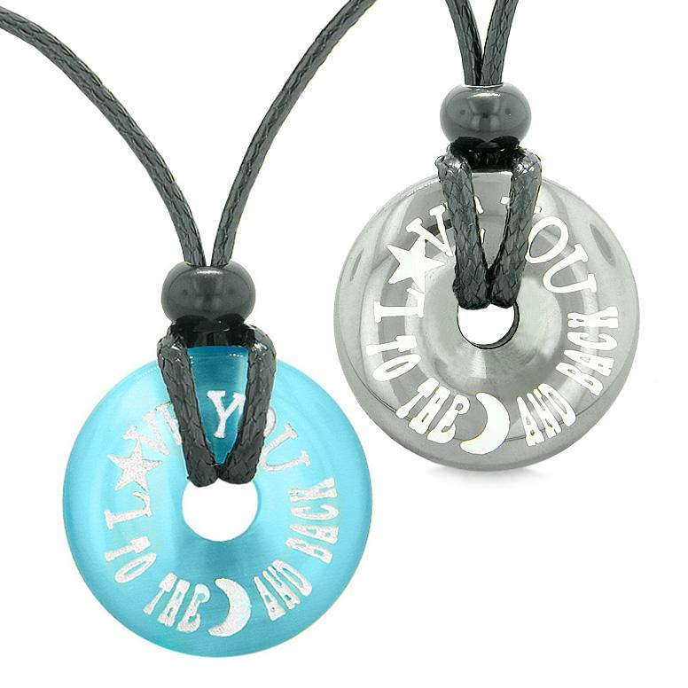 Amulets Love You to the Moon and Back Love Couples Coin Donuts Hematite Simulated Cat Eye Necklaces