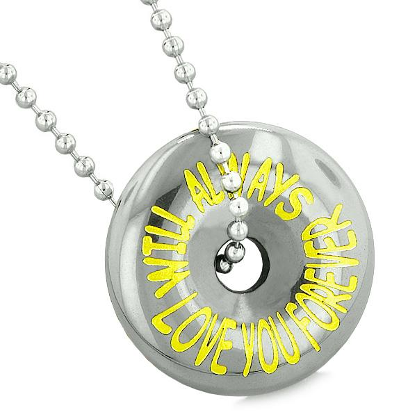 Inspirational Will Always Love You Forever Amulet Donut Lucky Coin Hematite Pendant Necklace