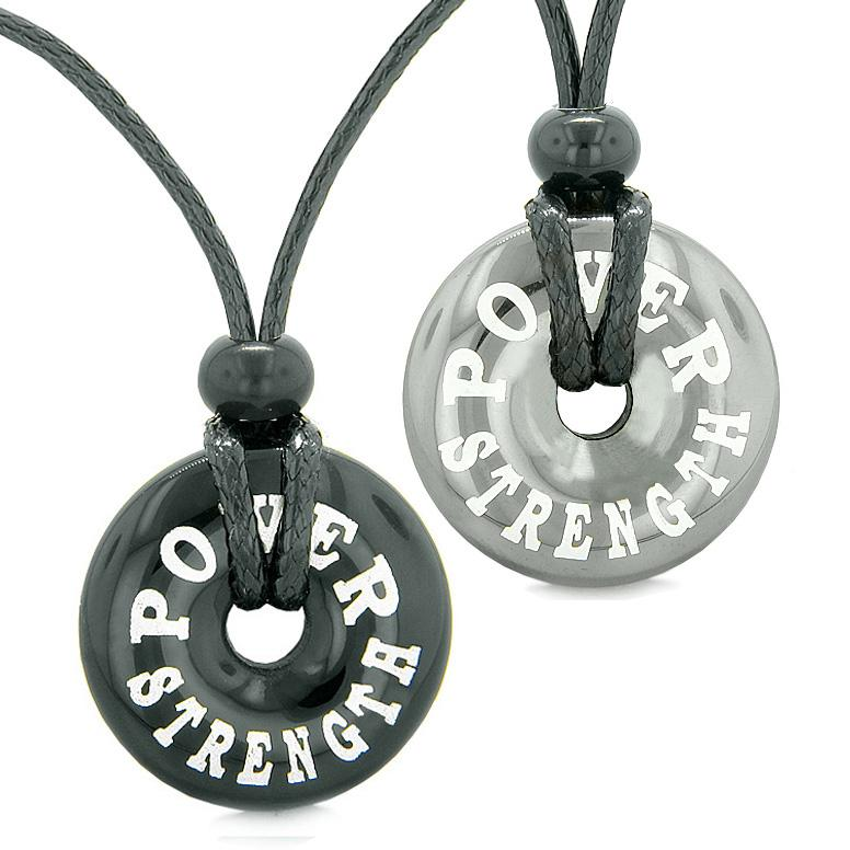 Amulets Power Strength Love Couples Best Friends Lucky Coin Donuts Hematite Black Agate Necklaces