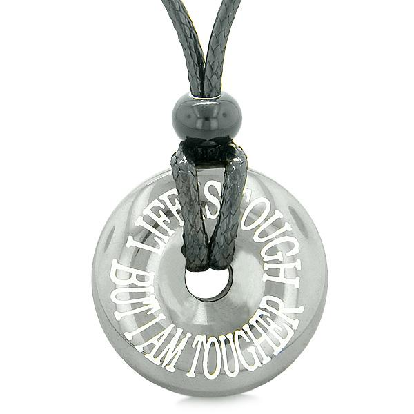 Inspirational Life is Tough But I am Tougher Amulet Lucky Coin Donut Hematite Pendant Necklace