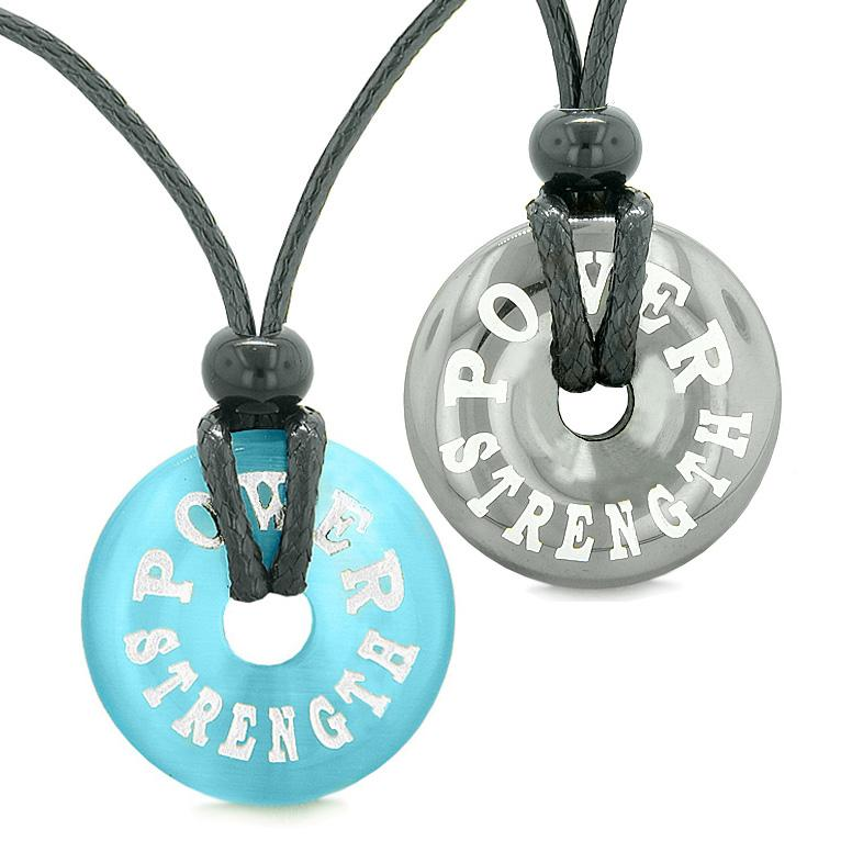 Amulets Power Strength Love Couples Best Friends Donuts Hematite Blue Simulated Cats Eye Necklaces