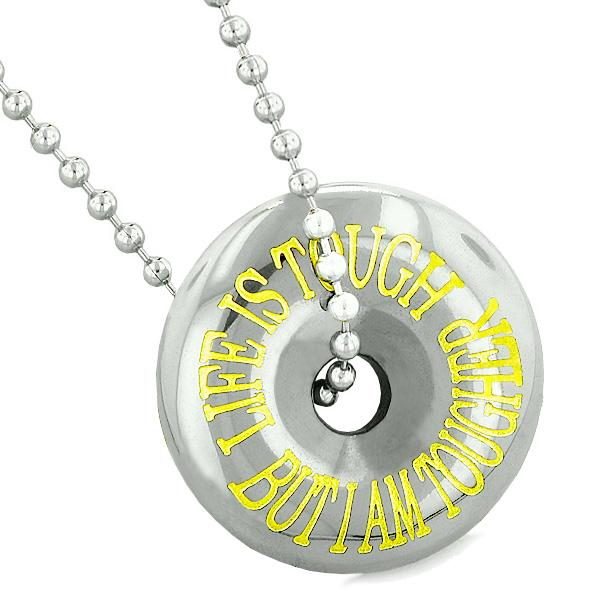 Inspirational Life is Tough But I am Tougher Amulet Coin Lucky Donut Hematite Pendant Necklace