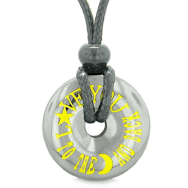 Inspirational Love You to the Moon and Back Amulet Coin Lucky Charm Donut Hematite Pendant Necklace