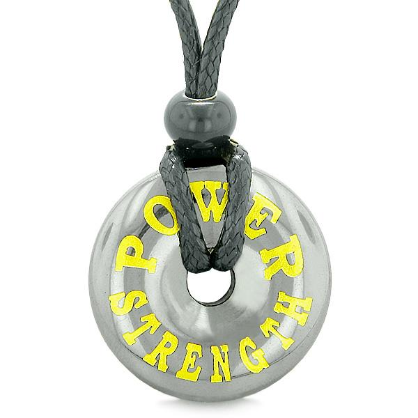 Inspirational Power and Strength Amulet Magic Coin Lucky Charm Donut Hematite Pendant Necklace