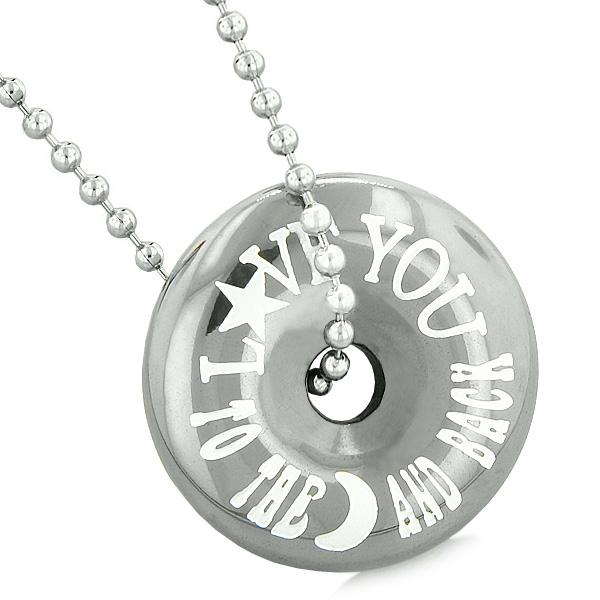 Inspirational Love You to the Moon and Back Amulet Lucky Coin Donut Hematite Pendant Necklace