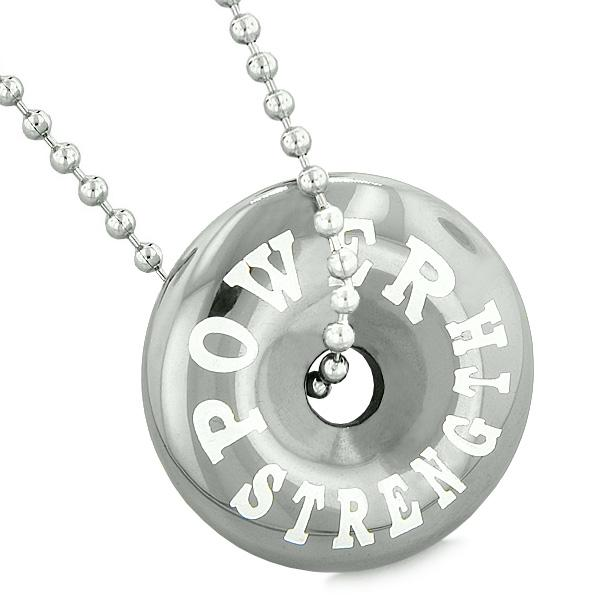 Inspirational Power Strength Amulet Lucky Charm Magic Coin Donut Hematite Pendant Necklace