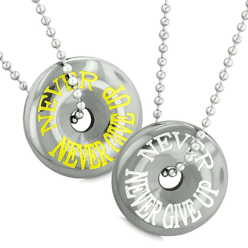 Amulets Never Never Give Up Love Couples Best Friends Donuts Lucky Coin Hematite Pendant Necklaces
