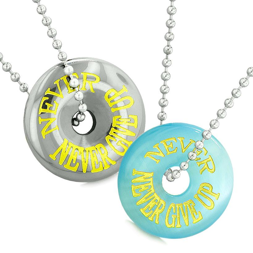 Amulets Never Never Give Up Best Friends Love Couples Donuts Simulated Cats Eye Hematite Necklaces