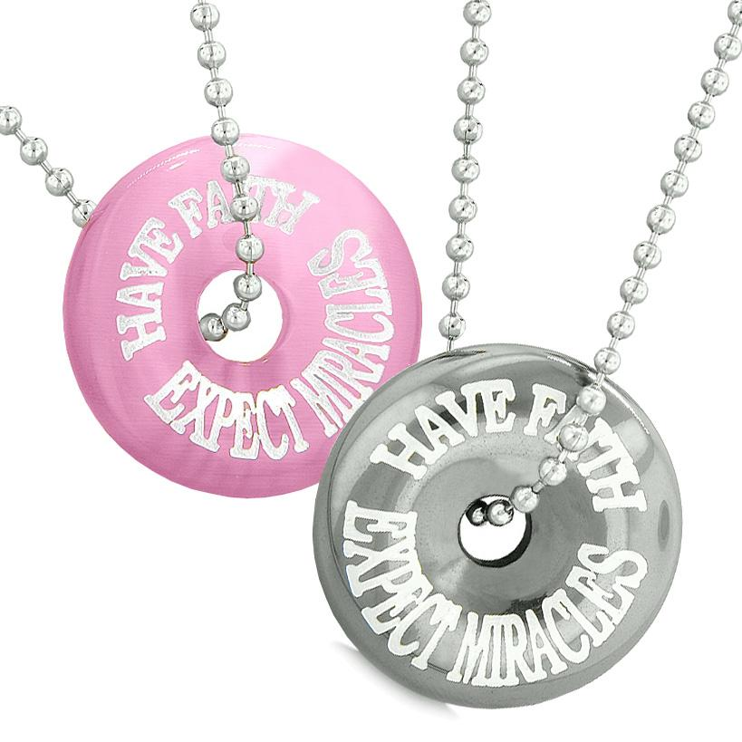 Amulets Have Faith Expect Miracles Love Couples Donuts Pink Simulated Cats Eye Hematite Necklaces