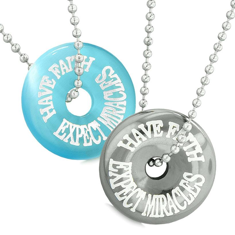 Amulets Have Faith Expect Miracles Love Couples Donuts Blue Simulated Cats Eye Hematite Necklaces