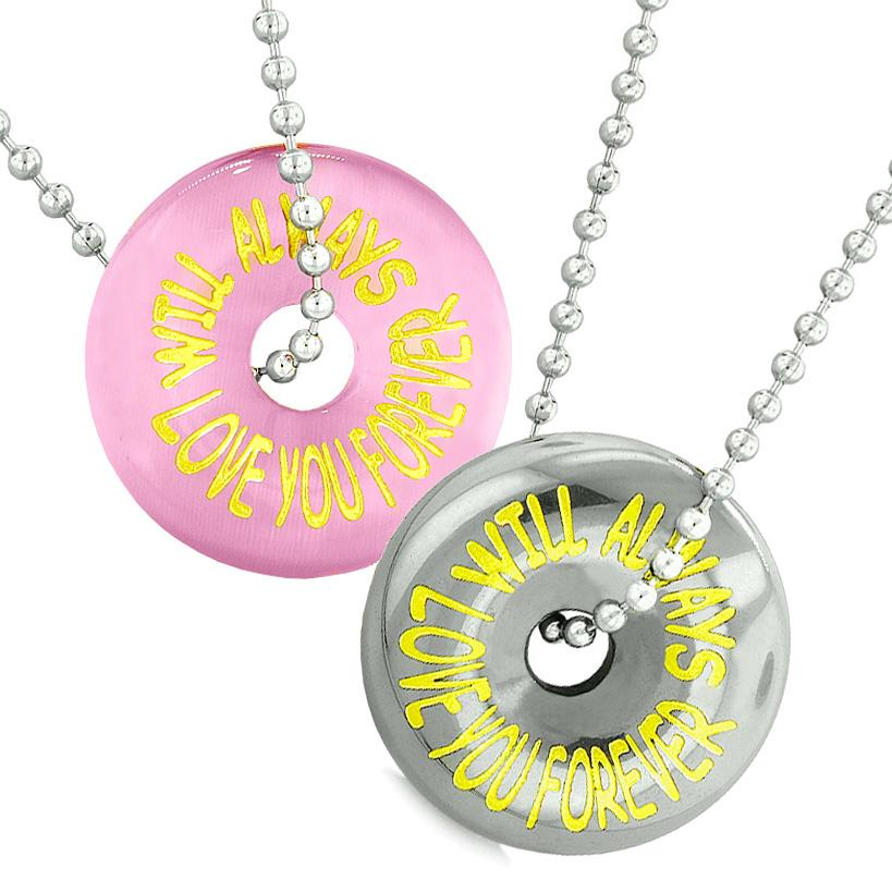 Amulets Will Always Love You Forever Couples Coin Donuts Pink Simulated Cats Eye Hematite Necklaces