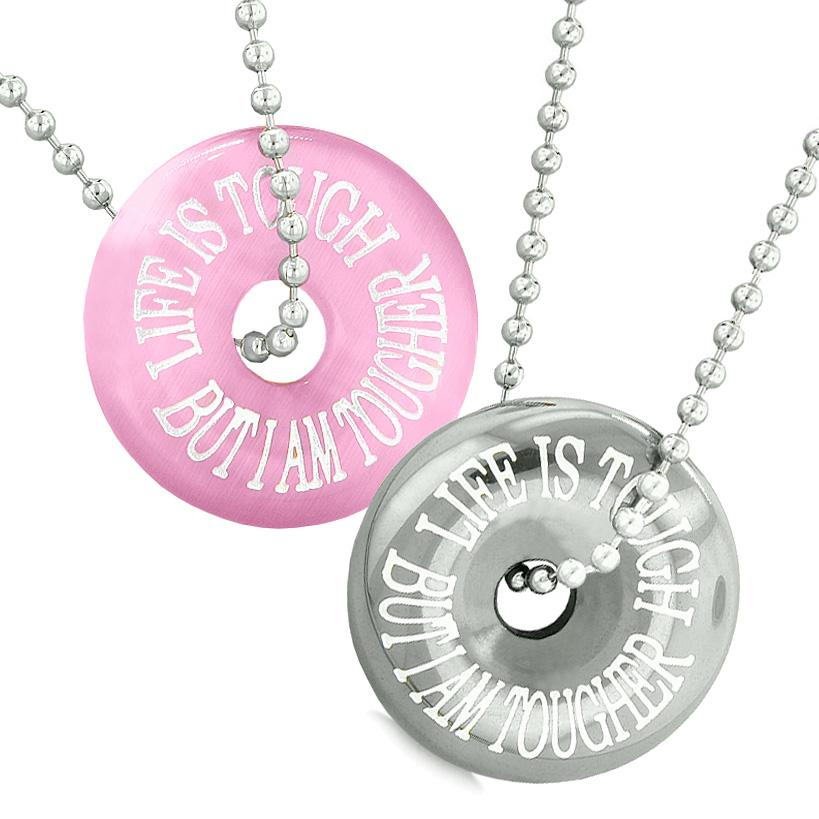 Amulets Life is Tough But I am Tougher Couples Donuts Pink Simulated Cats Eye Hematite Necklaces