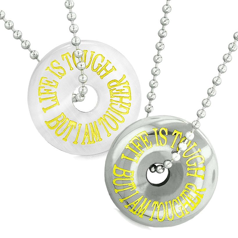 Amulets Life is Tough But I am Tougher Couples Donuts White Sumulated Cats Eye Hematite Necklaces