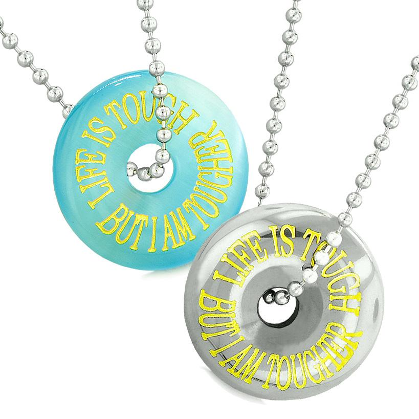 Amulets Life is Tough But I am Tougher Donuts Sky Blue Sumulated Cats Eye Hematite Necklaces