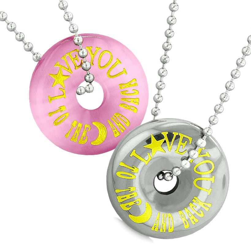 Amulets Love You to the Moon and Back Love Couples Coin Donuts Simulated Cat Eye Hematite Necklaces