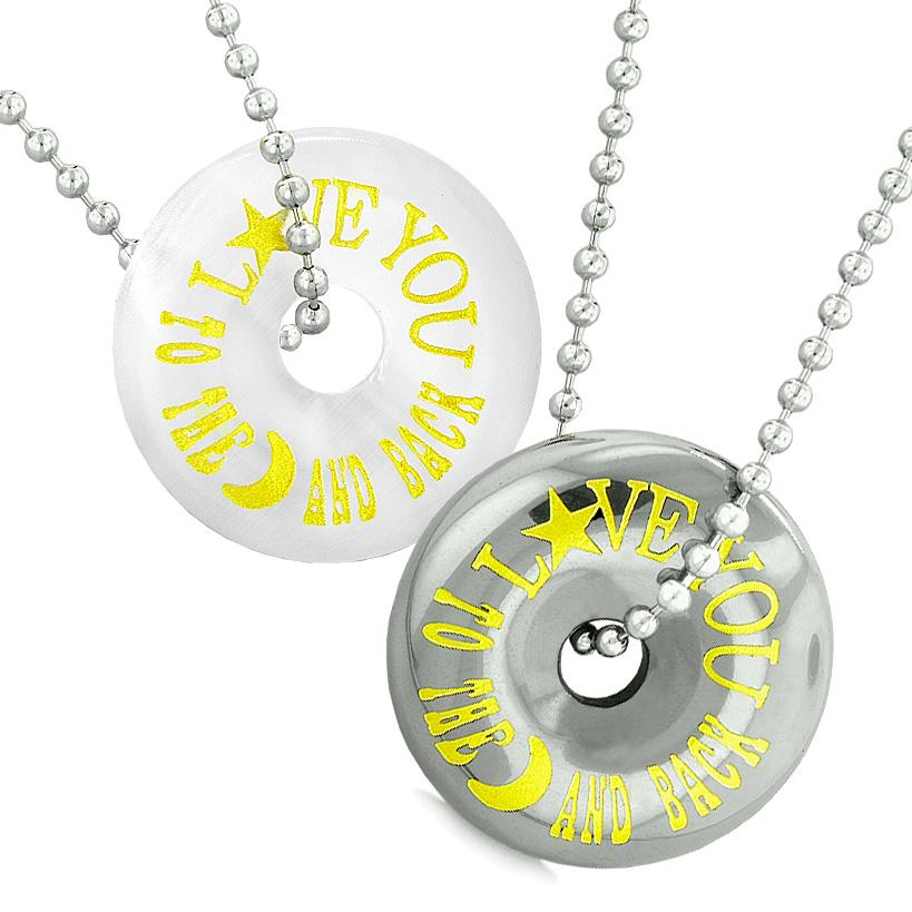 Amulets Love You to the Moon and Back Love Couple Coin Donuts Simulated Cats Eye Hematite Necklaces