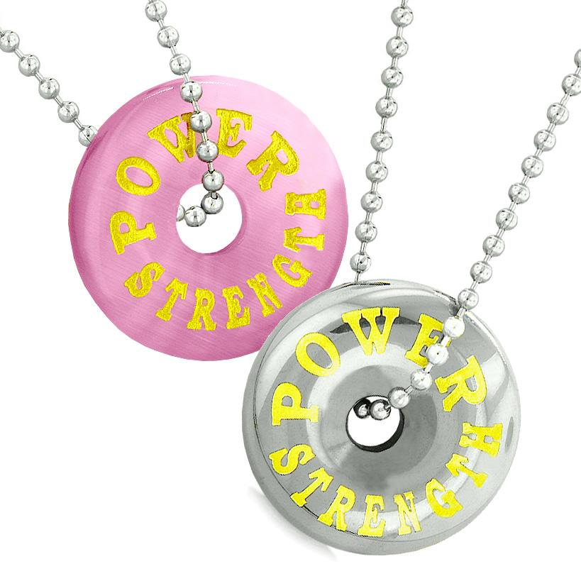 Amulets Power Strength Best Friends Love Couples Donuts Pink Simulated Cats Eye Hematite Necklaces