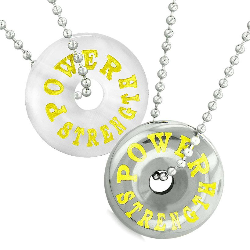 Amulets Power Strength Best Friends Love Couples Donuts White Simulated Cats Eye Hematite Necklaces