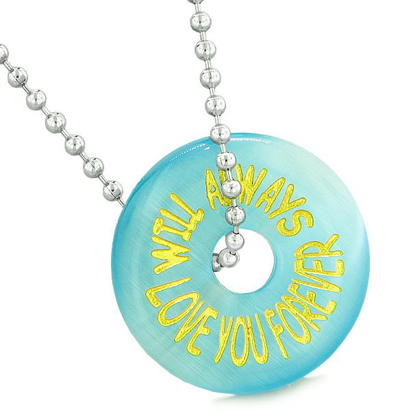Inspiration Will Always Love You Forever Amulet Donut Lucky Blue Simulated Cats Eye Necklace