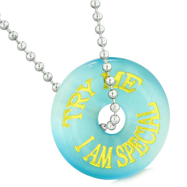 Inspiration Try Me I Am Special Fun Amulet Lucky Charm Donut Sky Blue Simulated Cats Eye Necklace