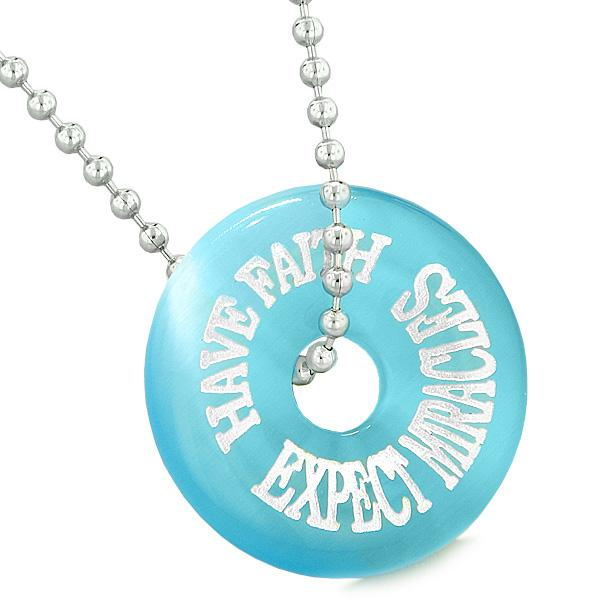 Inspiration Have Faith Expect Miracles Amulet Lucky Donut Sky Blue Simulated Cats Eye Necklace