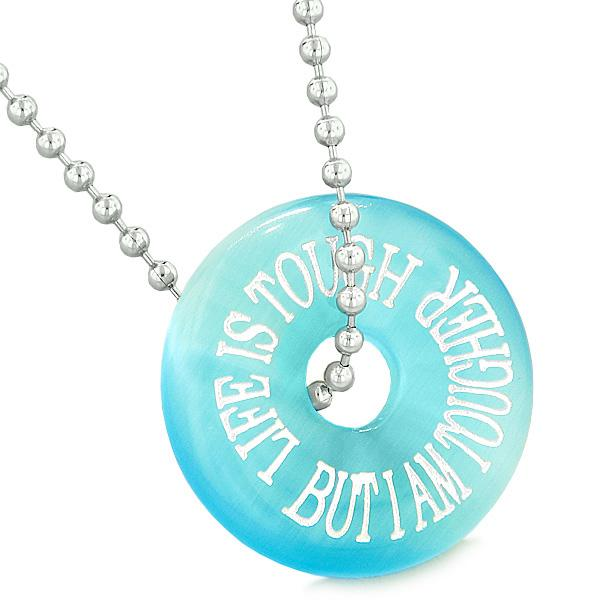 Inspiration Life is Tough But I am Tougher Amulet Lucky Donut Blue Simulated Cats Eye Necklace