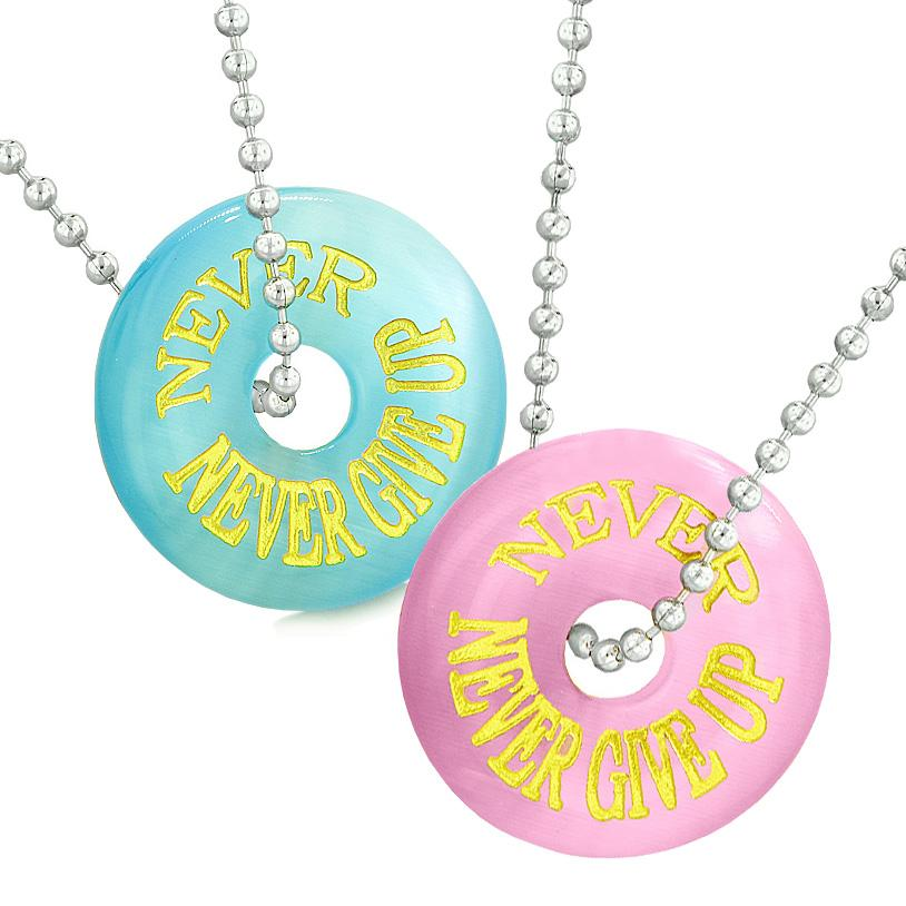 Amulets Will Always Love You Forever Best Friends Love Couples Blue Simulated Cats Eye Necklaces