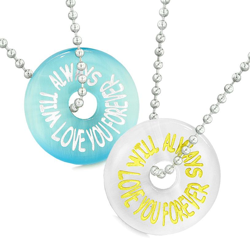 Amulets Will Always Love You Forever Best Friends Couples White Blue Simulated Cats Eye Necklaces