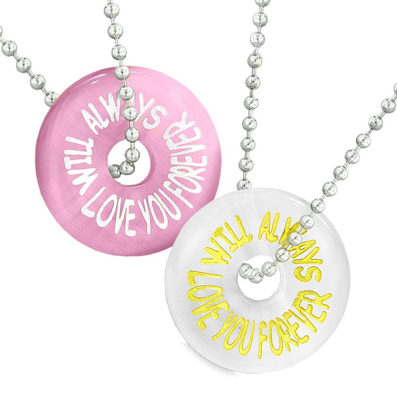 Amulets Will Always Love You Forever Best Friends Couples White Pink Simulated Cats Eye Necklaces