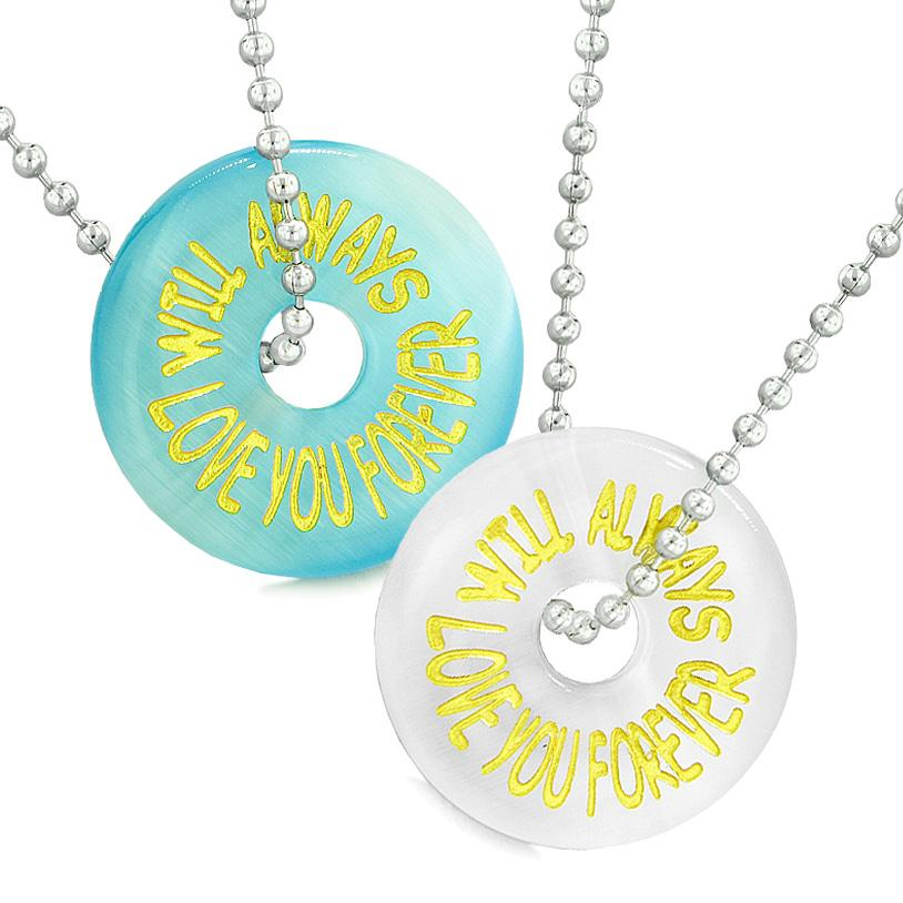 Amulets Will Always Love You Forever Best Friends Couples Blue White Simulated Cats Eye Necklaces