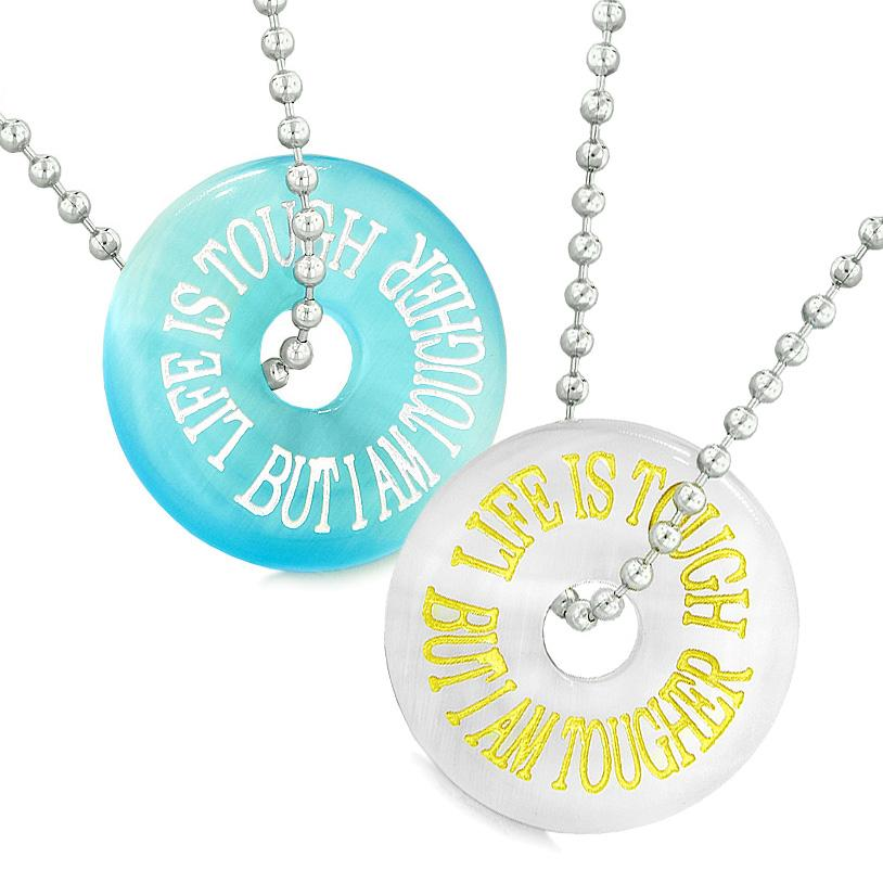 Amulets Life is Tough But I am Tougher Best Friends Couples White Blue Simulated Cats Eye Necklaces