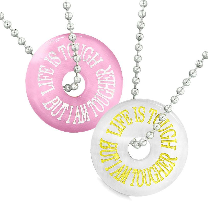Amulets Life is Tough But I am Tougher Best Friends Couples White Pink Simulated Cats Eye Necklaces
