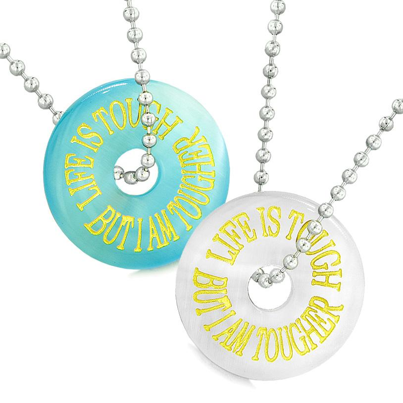 Amulets Life is Tough But I am Tougher Best Friends Couples Blue White Simulated Cats Eye Necklaces