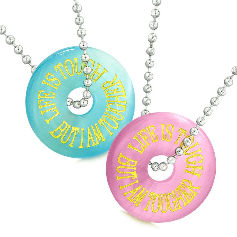 Amulets Life is Tough But I am Tougher Best Friends Couples Blue Pink Simulated Cats Eye Necklaces