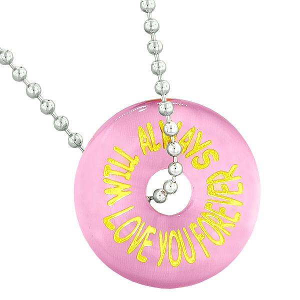 Inspiration Will Always Love You Forever Amulet Donut Lucky Pink Simulated Cats Eye Necklace
