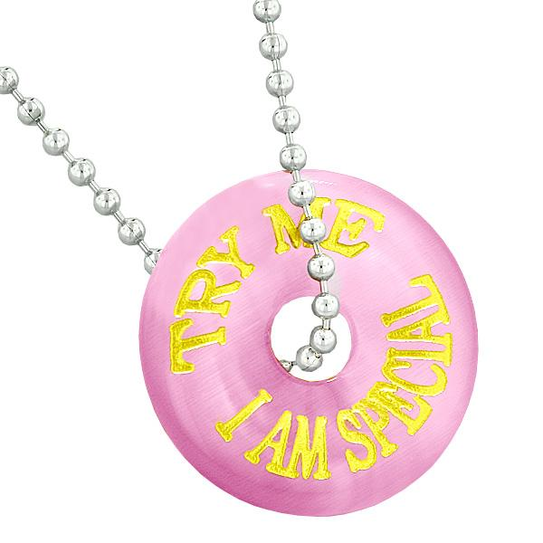 Inspiration Try Me I Am Special Fun Amulet Lucky Charm Donut Pink Simulated Cats Eye Necklace
