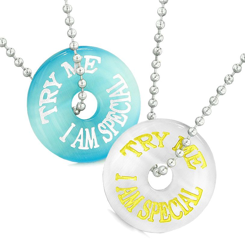 Amulets Try Me I Am Special Fun Best Friends Love Couples White Blue Simulated Cats Eye Necklaces
