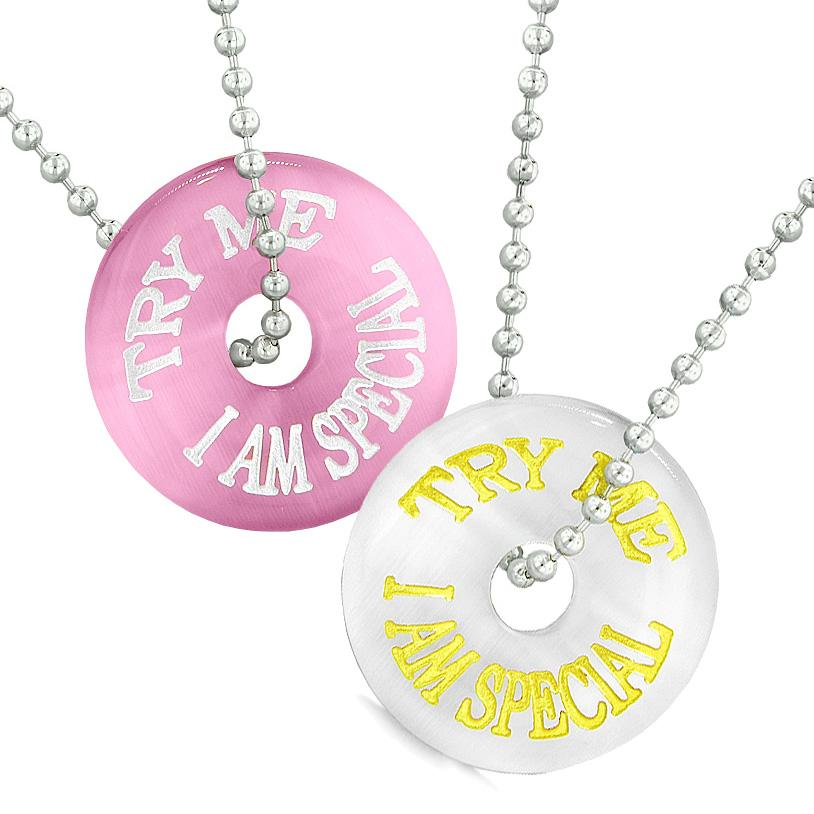 Amulets Try Me I Am Special Fun Best Friends Love Couples White Pink Simulated Cats Eye Necklaces
