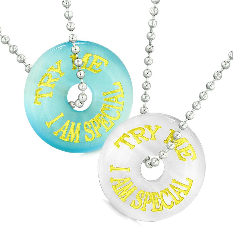 Amulets Try Me I Am Special Fun Best Friends Love Couples Blue White Simulated Cats Eye Necklaces