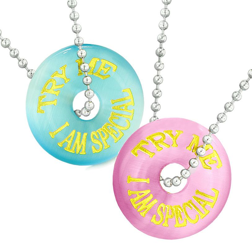 Amulets Try Me I Am Special Fun Best Friends or Love Couples Blue Pink Simulated Cats Eye Necklaces