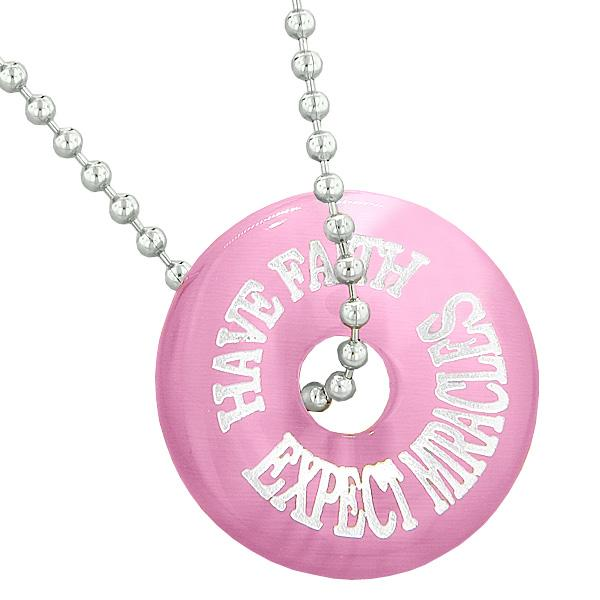 Inspiration Have Faith Expect Miracles Amulet Lucky Charm Donut Pink Simulated Cats Eye Necklace