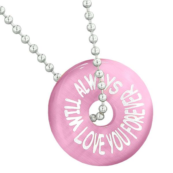 Inspiration Will Always Love You Forever Amulet Lucky Donut Pink Simulated Cats Eye Necklace