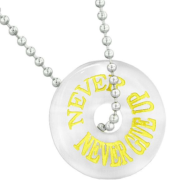 Inspiration Never Never Give Up Amulet Lucky Charm Donut White Simulated Cats Eye 22 Inch Necklace